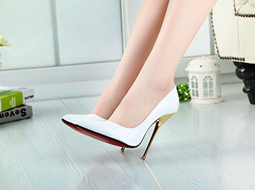 HeiSiMei Frauen high-heeled Schuhe / PU / Stilett-Ferse-Fersen / Büro u. Karriere / Partei u. Abend / Hochzeit / Kleid / Superhoher Absatz / Männer / Unisex WHITE-48