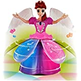 PETRICE Angel Girl Dancing Doll & Rotating Flashing Lights With Music Gift Toy For Kids,Baby,Childrens (Battery Not Provided)