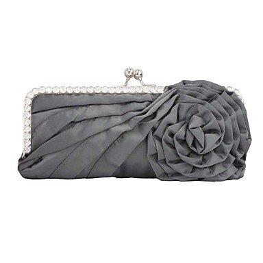 pwne L. In West Wome Die Elegante Hochwertige Handgefertigte Blume Diamanten Abend Tasche Gray