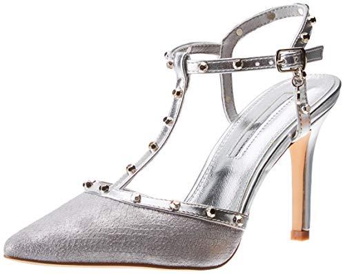 XTI 35030, Zapatos tacón Punta Cerrada Mujer, Plateado