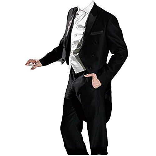 TPSAADE 2017 Anzug schwarz Bräutigam Männer Tuxedos Beste Mann Anzüge Hochzeit Brautführer 3 Stück Frack Anzug Sliver Westengröße 44-60 - Kostüm Homme Marque