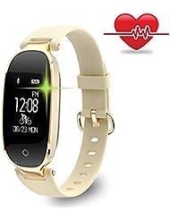 Fitness Armband für Frauen Schrittzähler Fitness Tracker Smartwatch Pulsmesser Fitnessuhr IP67 Wasserdichte Bluetooth Aktivitätstracker Kalorienzähler Herzfrequenzmesser mit Sleep Monitor für Android & IOS Smartphone, iPhone, Samsung von WOWGO (Gold)