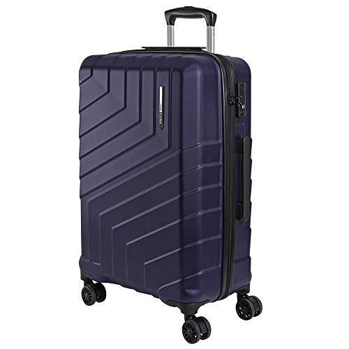 Maleta Trolley de Bodega Rigida - Equipaje de Viaje Ligero ABS con Mango Telescópico de Aluminio - Cerradura TSA y 4 Ruedas Dobles Multidireccionales - 65x44.5x27 cm - Perletti Travel (Azul, M)