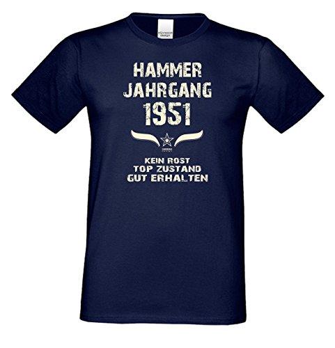 Geschenk Set : Geschenkidee 66. Geburtstag ::: Hammer Jahrgang 1951 ::: Herren T-Shirt & Urkunde Geburtstagskind des Jahres für Ihren Papa Vater Opa Großvater ::: Farbe: schwarz Navy-Blau