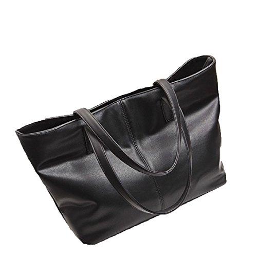 Frauen Mode Weich Leder Eimer Tasche Handtaschen Geldbörse Schultertasche Black