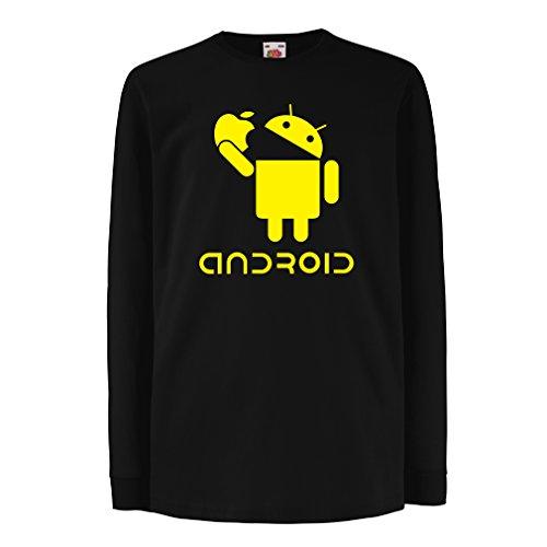 irt mit Langen Ärmeln Android Essen Den Apfel -Ich Liebe Coole Tech-Gadgets, Humor Geschenk (12-13 Years Schwarz Gelb) (Cool Essen Machen Für Halloween)