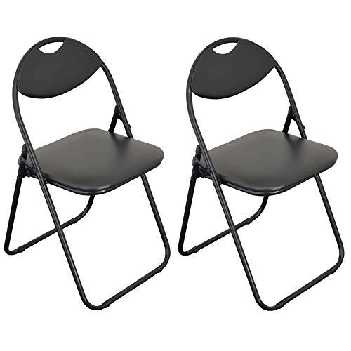 Chaise pliante rembourrée - pour le bureau - entièrement noire - lot de 2