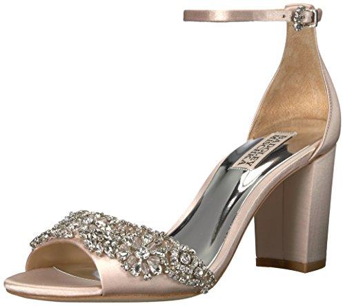 Badgley Mischka Damen Hines Sandalen mit Absatz, Hellrosa Farbe, 40 EU Satin Ankle Strap Wedge