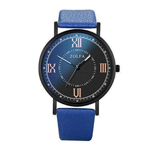 Fenverk Herren Mode Wasserdicht Sport Analog Quarzuhr Männer Geschäft Braun Leder Armbanduhr (Blau)