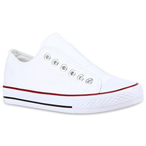 Sportliche Damen Sneakers Bequeme Slipper Slip-ons Ösen Weiß