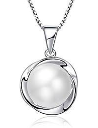 Collar de perlas para mujer, plata de ley 925, perla cultivada en agua dulce, joyería LANMPU, el mejor regalo para mujeres y niñas