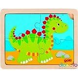 Goki Einlegepuzzle 3er Set Dinosaurier Elefant Feuerwehr