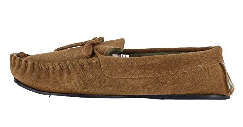 LodgeMok véritable pour homme Daim Moccs chaussettes-chaussons Marron - Brun