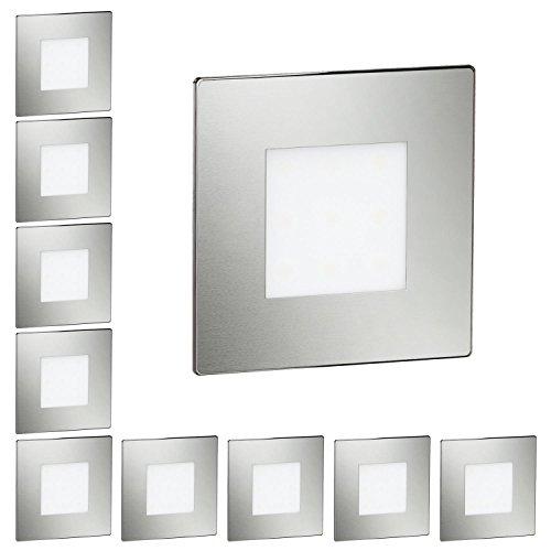 ledscom.de LED Treppen-Licht Treppenbeleuchtung, eckig, 8,5x8,5cm, 230V, warm-weiß, 10 STK. -