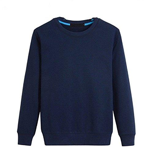 BOMOVO Herren Langarm Fashion Freizeit Verdicken Langarm Shirt Slim Fit dark blau