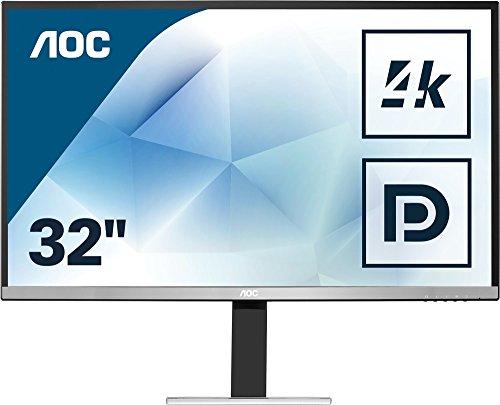 AOC U3277FWQ 31.5Zoll 4K Ultra HD MVA Matt Flach Schwarz, Silber Computerbildschirm - Computerbildschirme (80 cm (31.5 Zoll), 3840 x 2160 Pixel, LCD, 4 ms, 350 cd/m², Schwarz, Silber)