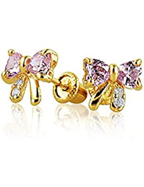 14K Gold Simulated Pink Tourmaline CZ Baby Safety Earrings
