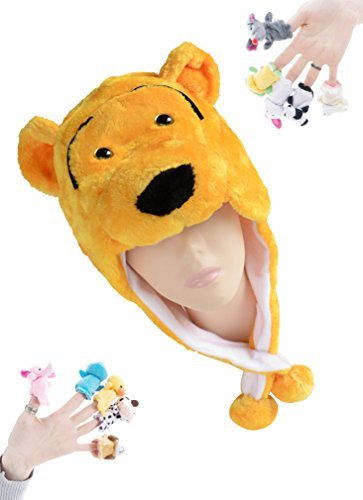 Pulama Winter Plush Cartoon Animal Hats Warm Ear-Flap Hood Scarf with 10pcs Educational Toy Finger Puppets for Kid