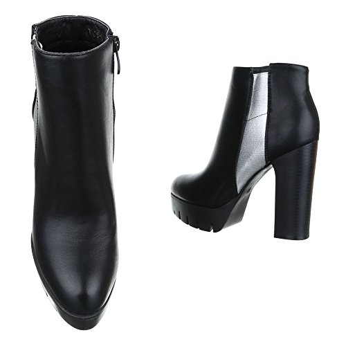 Ital-Design Klassische Stiefeletten Damenschuhe Schlupfstiefel Pump Zipper Reißverschluss Stiefeletten Schwarz Silber