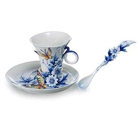 Franz Porcelain Forever Wedding Collection Sculptured Porcelain Cup/Saucer Set with Spoon