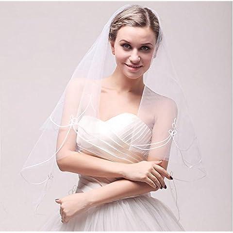 Velo de novia bordado Accesorios de boda de lujo blanco de marfil del cordón