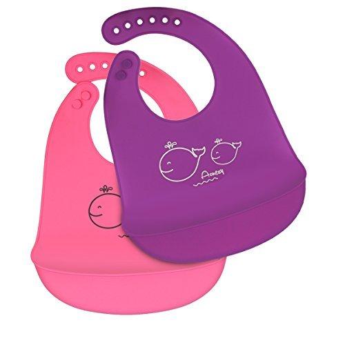 Aonesy Silikon Baby Lätzchen, Aonesy 2 Pack Wasserdichte Soft Fütterung Latztasche mit 6 verstellbaren Snaps-Leicht reinigt und schnell trocknend, kein BPA (Rosa / lila) (Carters Mädchen 3 Stück Kleinkind)