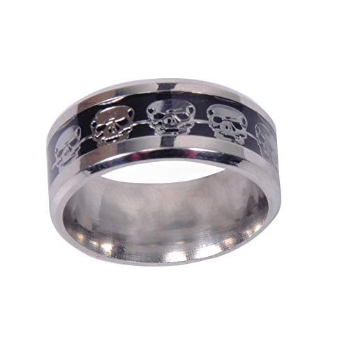 Anillo de esqueleto de Halloween, diseño de calavera punisher, anillo de acero inoxidable, unisex, para hombres y mujeres