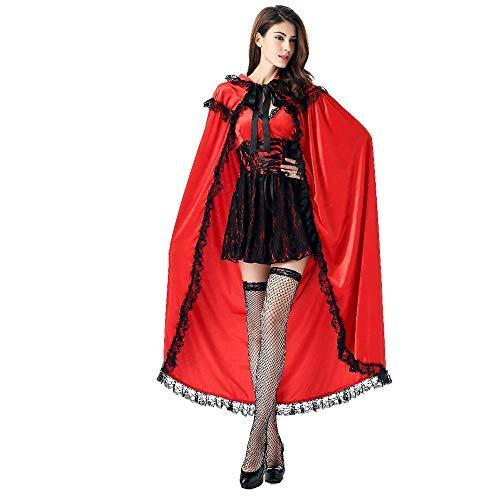 Frauen Halloween Kostüm Anime Rotkäppchen Cosplay Schneewittchen Rock Party Karneval (Rock + Langes Cape),Red,M (Für Frauen Schneewittchen-kostüme)