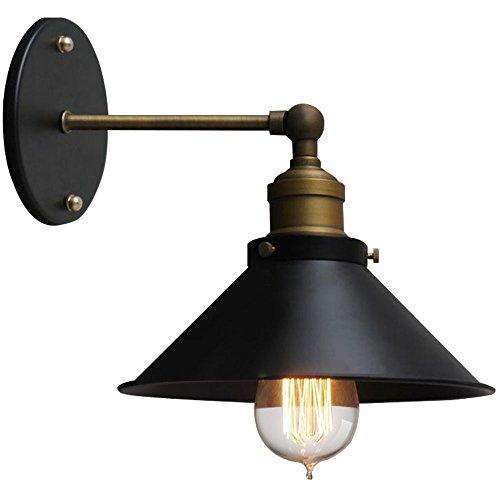 Pointhx Rétro Noir Métal Applique Murale Lumières Créativité Réglable En Fer Forgé Lampe Murale Luminaire Intérieur Chambre Chevet Escalier Balcon Unique Tête LED Mur Lumière
