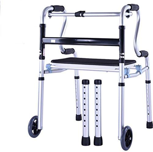 G&M Deluxe zwei Taste Falten Walker mit 5-Zoll-Räder leichte Aluminium Folding Walker