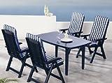 Beauty.Scouts 9tlg Gartengarnitur Sitzgruppe Algarve inkl. Verschieden Farbenden Sitzgarnituren Blau