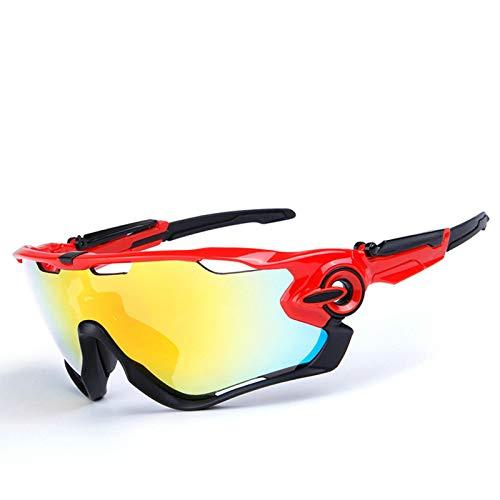 Coniea Sportbrille Polarisiert PC Brillenträger Damen Outdoor Brille Rot Schwarz Schwarz