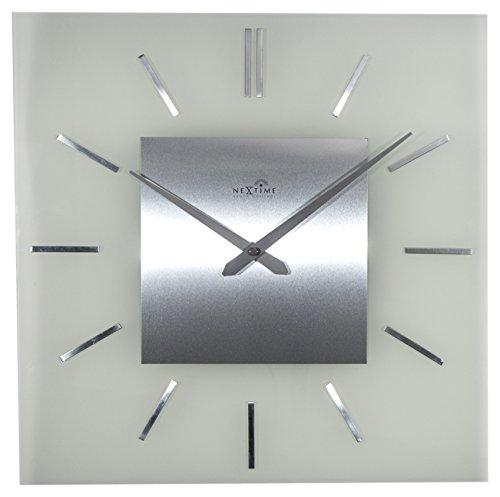 """NeXtime Wanduhr """"STRIPE SQUARE  RADIO CONTROLLED"""", Funkuhr, quadratisch, Glas/Edelstahl, 40 x 40 cm"""