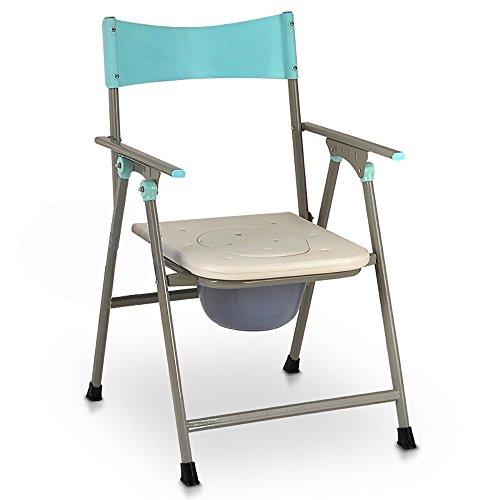 Badezimmerstuhl JCOCO Ältere Bedside Toilette/Schwangere Frau Bad Stuhl/multifunktionale Stuhl/Hocker zusammenklappbar Mobile höhenverstellbare Toilette (Farbe : Weiß)