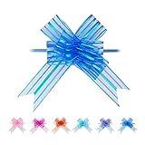 Nœuds Automatiques 20 Pièces Grand 5cm Noeuds à Tirer pour Mariage Noël Panier Voitures Autocadeau Décorations Fleur Bouquets Agencement Floral Tributs Pull Bows Bleu