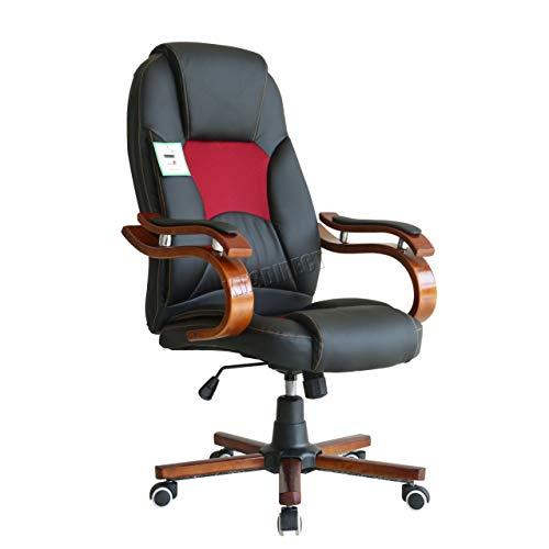 FoxHunter Computer Executive Schreibtisch, Kunstleder, Drehgelenk Möbel Hohe Rückenlehne Holz Armlehne Verstellbar OC02Schwarz