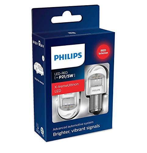 Philips automotive lighting 11499XURX2 LED Lampadina di Segnalazione per Auto (P21/5W Red), Rosso, Set di 2