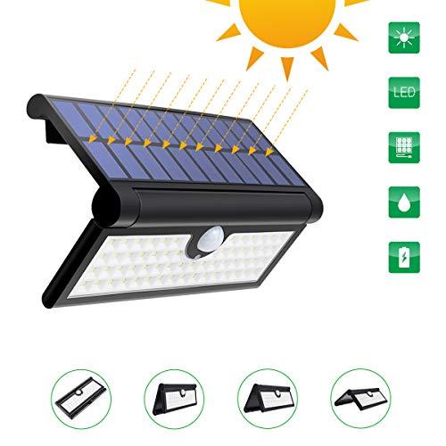Luci Solari, GLIME Lampada per Giardino 58 LED con Sensore di Movimento Wireless con 120 Grado di Rilevamento Angolo per Giardino, Garage, Terrazzino, Cortile, Scala