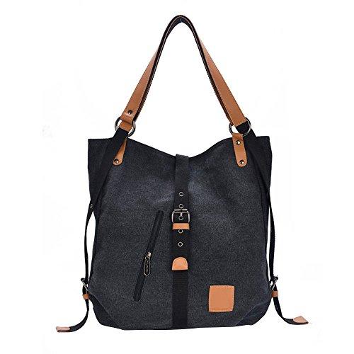 KAL12 Women's Casual Canvas Hobos Shoulder Bag Multifunctional Backpack Handbag (Black)