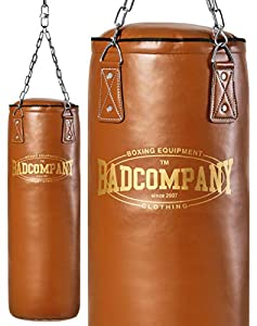 Bad Company Retro Boxsack I Leder Punching Bag gefüllt inkl. Heavy Duty...