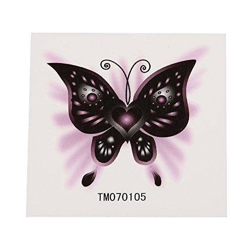 Klebetattoo temporär Schmetterling romantischer Style Herz schwarz grau lila 1 Bogen (Herz & Schmetterling Tattoos)