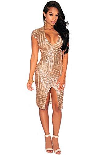 OMUUTR Damen Paillette Kurzarm V Ausschnitt Pailletten Kleider Schlank Split Front Figurbetontes Bodycon Midikleid Abendkleid Cocktailkleid Gold Medium - 3