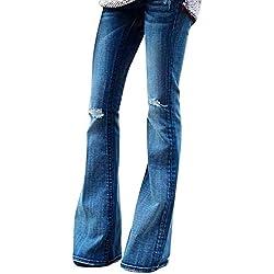 STRIR Mujer Vaqueros Acampanados Pantalones Largos Elástico Cintura Alta Retro Flared Jeans (S, Azul)