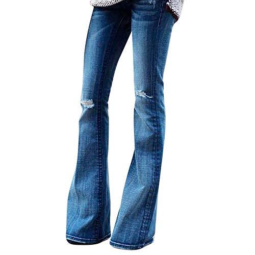 Longra Donna Moda Pantaloni Palazzo in Denim Jeans a Vita Alta Elasticizzati Blue Jeans Donna Larghi Tempo Libero Sciolto Pantaloni Jeans Zampa