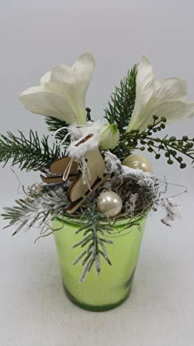 Weihnachtsgesteck Wintergesteck Tischgesteck Kunstblumen Amaryllis Schlittschuhe