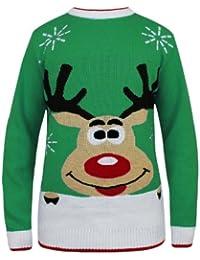Oromiss Unisex Ladies Mens Knitted Christmas Jumper Reindeer Snowy Rudolph Festive Novelty Sweater