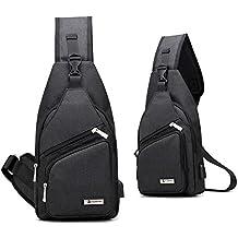 Gelory CanvasSling Mochila frontal con USB recargable Bolso Messenger para usar al aire libre, Bolso Bandolera