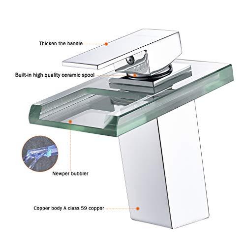 Auralum® Armatur LED RGB Glass Wasserhahn Waschtischarmatur für Bad/Badezimmer/Küchen - 5