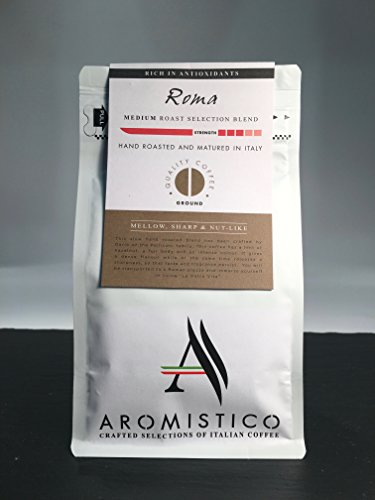 AROMISTICO | Finest Smooth Aroma Medium Roast | Premium Italian Ground Coffee | Roma Blend for Cafetiere French Press, Filter, Pour Over, Drip, Chemex, Moka, Aeropress | Mellow, Sharp, NUT-Like