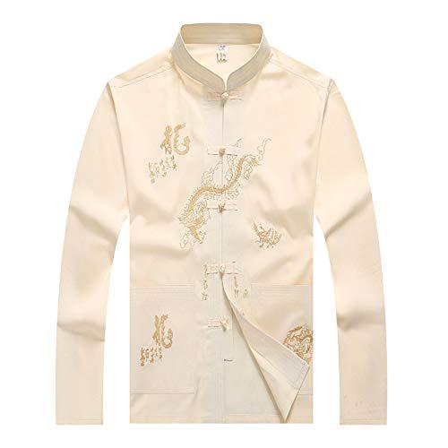 BOZEVON Herren Klassische Tai Chi Tops Kung Fu Jacke chinesischen Langen Ärmeln Shirt & Hose (Beige Hemd) Kung Fu Shirt Hose